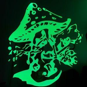 Magic mushroom etched lighted mirror